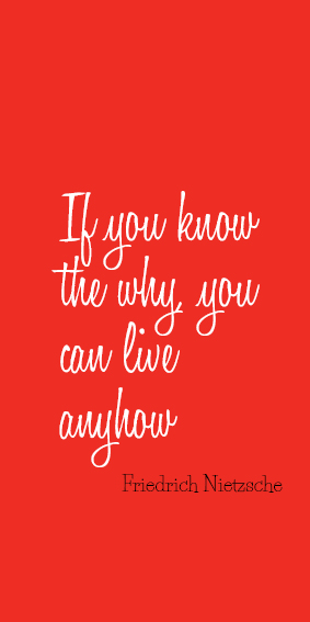 If you know the why you can live anyhow #quote