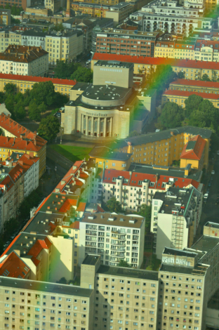 Volksbühne, Rosa-Luxemburg-Platz from TV tower berlin
