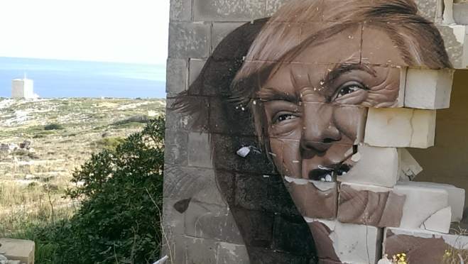 Donald Trump mural white rocks malta be kitschig