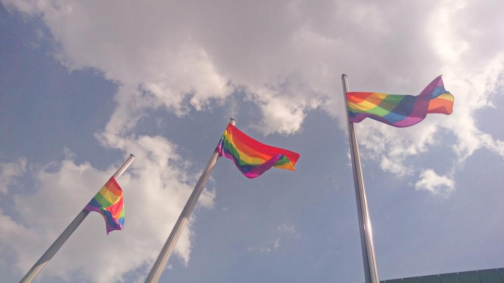 #rainbow #flags #mauerpark #berlin #stadium #summer bekitschig blog