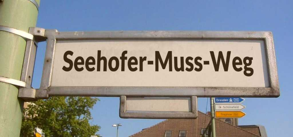 Seehofer Muss Weg Strassenkunst bombed sign German Politics
