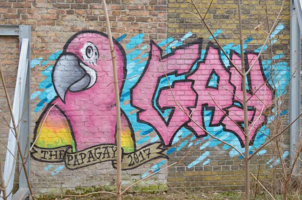 Street art Berlin Papagay