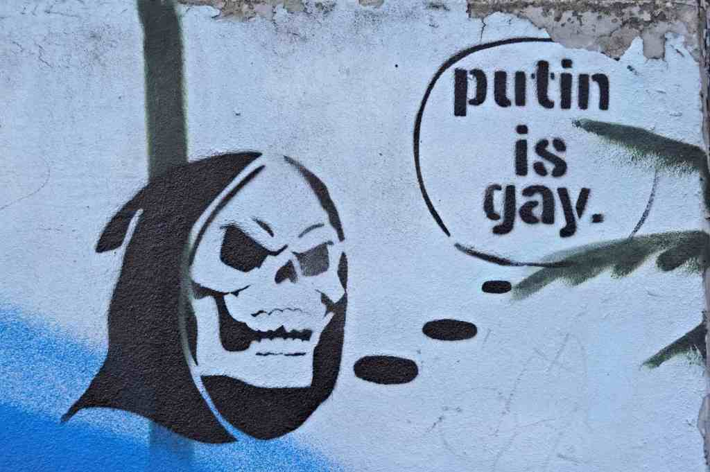 street art Putin is gay