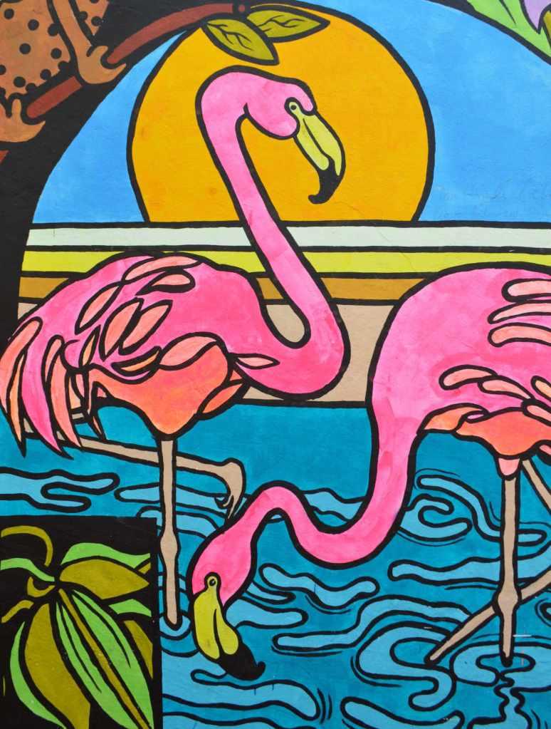 Flamingo street art graffiti nomad Berlin FIT
