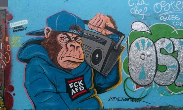 eme free thinger grafitti mauerpark Fuck AFD